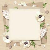 Wektorowa beż karta z białymi kwiatami na grabije tle Eps-10 Obraz Stock