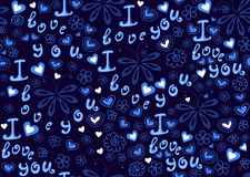 Wektorowa bezszwowa dekoracyjna tekstura z kwiecistym składem, motyle, słowa miłość Obrazy Royalty Free