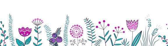 Wektorowa bezszwowa granica z lasu i łąki roślinami Tło dla ram, dekoracyjna scotch taśma, plakaty, dzieciaki ilustracji