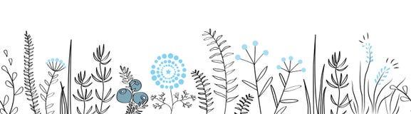Wektorowa bezszwowa granica z lasu i łąki roślinami Tło dla ram, dekoracyjna scotch taśma, plakaty, dzieciaki Zdjęcie Royalty Free