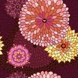 Wektorowa bezszwowa ilustracja z kwiatami Zdjęcie Royalty Free