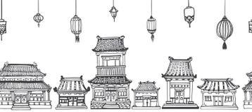 Wektorowa bezszwowa kreskowa panorama azjatykci stary miasteczko Royalty Ilustracja