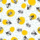 Wektorowa bezszwowa ręka rysujący miodowy pszczoła wzór royalty ilustracja