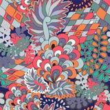 Wektorowa bezszwowa tekstura z abstrakcjonistycznym kwiatem etniczny bezszwowy pa Obrazy Stock
