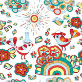 Wektorowa bezszwowa tekstura z abstrakcjonistycznym kwiatem i ptakiem bezszwowy Zdjęcie Stock