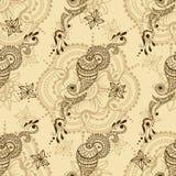 Wektorowa bezszwowa tekstura z kwiecistym ornamentem w hindusa stylu Mehndi ornamentacyjny Paisley Zdjęcia Stock