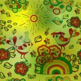 Wektorowa bezszwowa zamazana tekstura z abstrakcjonistycznym kwiatem i ptakiem S Fotografia Royalty Free
