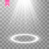 Wektorowa biała przejrzysta energetyczna światło reflektorów scena z błyskawicowym tłem Abstrakcjonistycznej lekkiego skutka wład ilustracja wektor