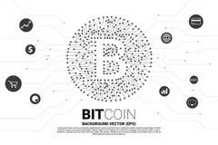 Wektorowa bitcoin ikona od obwód deski stylu kropki łączy linię z czynnościową ikoną royalty ilustracja
