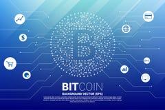 Wektorowa bitcoin ikona od obwód deski stylu kropki łączy linię z czynnościową ikoną ilustracja wektor