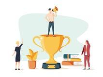 Wektorowa biznesowa ilustracja ludzie są szczęśliwi z zwycięstwem w drużynie sposoby i cele udany interes royalty ilustracja
