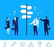 Wektorowa biznesowa pojęcie ilustracja Biznesmeni i bizneswomany stoi przy rozdroża royalty ilustracja