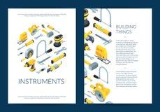 Wektorowa budowa wytłacza wzory isometric ikony broszurkę na bielu ilustracji