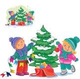 Wektorowa chłopiec i dziewczyna dekoruje choinki z piłkami i girlandami ilustracja wektor
