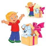 Wektorowa chłopiec otwierał prezenta pudełko i zobaczył szczeniaka siedzieć tam Obrazy Stock