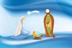 Wektorowa chrześcijańska narodzenie jezusa scena na eleganckim błękitnym tle ilustracja wektor