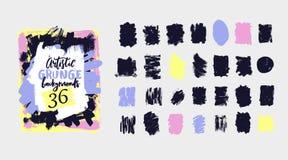 Wektorowa czarna farba, atramentu muśnięcia uderzenie, grunge brudna tekstura Ręka rysujący artystyczny projekta element, pudełko ilustracji