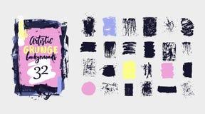 Wektorowa czarna farba, atramentu muśnięcia uderzenie, grunge brudna tekstura Ręka rysujący artystyczny projekta element, pudełko royalty ilustracja