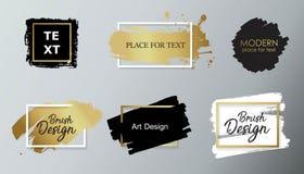 Wektorowa czarna farba, atramentu muśnięcia uderzenie, linia lub tekstura, Brudzi artystycznego projekta element, boksuje, rama l ilustracji
