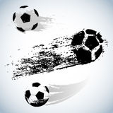 Wektorowa czarna grunge piłki nożnej piłka na bielu ilustracja wektor