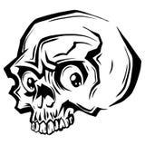 Wektorowa czarny i biały ilustracja ludzka czaszka z niską szczęką w atramentu ręka rysującym stylu ilustracji