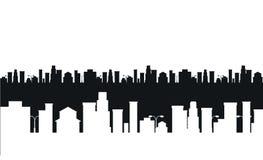 Wektorowa czarny i biały miasto sylwetka ilustracja wektor