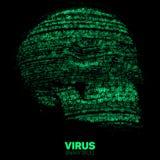Wektorowa czaszka budująca z zielonym binarnym kodem Internetowa ochrony pojęcia ilustracja Wirusa lub malware abstrakt Obrazy Royalty Free