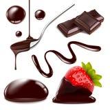 Wektorowa czekolada odizolowywająca protestuje dużego set Realistyczna ilustracja rozciekły czekoladowy pluśnięcie, krople i trus Obraz Stock