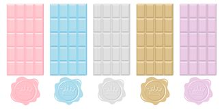 Wektorowa czekoladowa kolekcja w pastelowych kolorach Set wosk foka Topi królewskie cukierek ikony Obrazy Royalty Free
