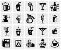 Wektorowa czerń napojów & napojów wektorowa ikona ustawiająca dalej Obraz Stock