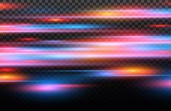 Wektorowa czerwień i błękitny specjalny skutek Świecący lampasy na przejrzystym tle Piękna łuny łuna, iskra i cząsteczka ilustracja wektor