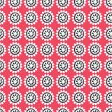 Wektorowa czerwień i czarna kwiecista geometryczna bezszwowa powtórka deseniujemy tło ilustracja wektor