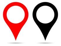 Wektorowa czerwieni i czerni koloru pointeru mapa przyczepia nawigację ilustracji