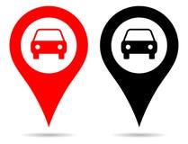 Wektorowa czerwieni i czerni koloru pointeru mapa przyczepia nawigację z samochodowym symbolem royalty ilustracja