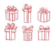 Wektorowa czerwona prezent ikona ilustracji