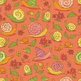 Wektorowa czerwona ręka rysujący ślimaczków i kwiatów powtórki wzór Stosowny dla opakunku, tkaniny i tapety prezenta, ilustracji