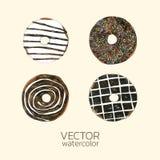 Wektorowa Donuts akwarela Wręcza patroszonego dla kartka z pozdrowieniami, Pakować, piekarnia sklepu i więcej, ilustracja wektor