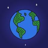 Wektorowa doodle kuli ziemskiej ikona, ręka rysująca ziemia z gwiazdami odizolowywać na astronautycznym tle Zdjęcia Stock