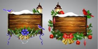 Wektorowa drewniana boże narodzenie deska ilustracji