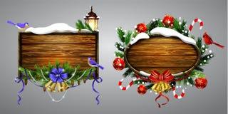 Wektorowa drewniana boże narodzenie deska royalty ilustracja
