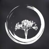 Wektorowa drzewa i Zen okręgu ilustracja na Naturalnym tle Zdjęcie Stock
