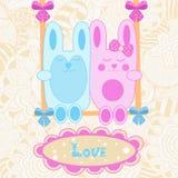 Wektorowa dziecko karta Miłość króliki na huśtawce Fotografia Stock