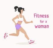 Wektorowa dziewczyna iść jogging, kobieta robi cardio ćwiczeniu Fotografia Stock
