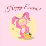 Wektorowa dziewczyna jest ubranym Easter królika kostium Royalty Ilustracja