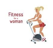 Wektorowa dziewczyna robi ćwiczenie rowerowi, kobieta robi sprawność fizyczna treningowi Zdjęcia Royalty Free