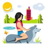 Wektorowa dziewczyna z psem Mieszkanie kreskówki stylowa kolorowa ilustracja royalty ilustracja