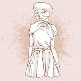 Wektorowa elegancka kobieta z kot głową Zdjęcia Stock