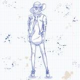 Wektorowa elegancka kobieta z kot głową Obrazy Royalty Free