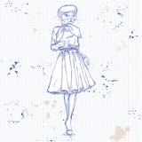 Wektorowa elegancka kobieta z kot głową Fotografia Royalty Free