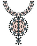 Wektorowa Etniczna kolii broderia dla mod kobiet Piksla plemienny wzór dla druku lub sieci projekta Biżuteria, kolia zdjęcia royalty free